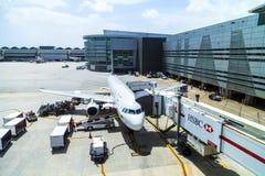TACA Embraer 190 in Miami. MIAMI, USA - AUG 16, 2014: A TACA Embraer 190 in Miami, USA. TACA International Airlines is headquartered in El Salvador. They operate Stock Photos
