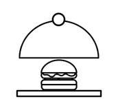 Taca serwer z hamburger odosobnioną ikoną royalty ilustracja