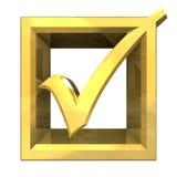 Tacca giusta in oro isolato - 3D Fotografia Stock Libera da Diritti