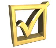 Tacca giusta in oro isolato - 3D illustrazione di stock