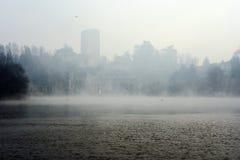 Taccani elektrowni hydroelektryczny wydźwignięcie od mgły, fotografia royalty free