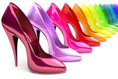Tacchi alti dell'arcobaleno Fotografie Stock
