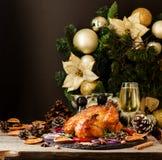 Tacchino al forno per lo spazio del nuovo anno o di Natale per testo Immagine Stock