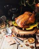 Tacchino al forno per lo spazio del nuovo anno o di Natale per testo immagine stock libera da diritti