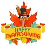 Tacchino felice di ringraziamento in cappello del pellegrino con le foglie di autunno immagine stock libera da diritti