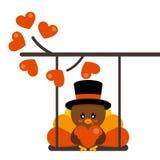 Tacchino sveglio del fumetto di giorno di biglietti di S. Valentino con il cappello e cuore su un'oscillazione e su un ramo adora illustrazione vettoriale