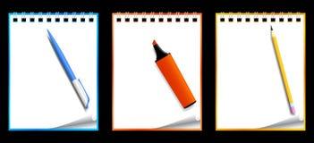 Taccuini di carta con cancelleria Fotografie Stock Libere da Diritti