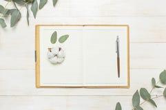 Taccuino aperto con le pagine in bianco, la penna, il ramoscello dell'eucalyptus ed i fiori del cotone sulla disposizione piana d immagine stock