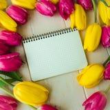 Taccuino in bianco con il fiore rosa e giallo, tulipani fotografie stock libere da diritti