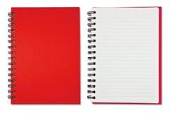 Taccuino in bianco rosso Fotografia Stock