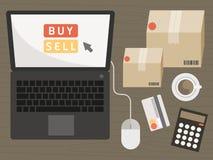 Taccuino con gli oggetti di acquisto sul concetto online di acquisto royalty illustrazione gratis