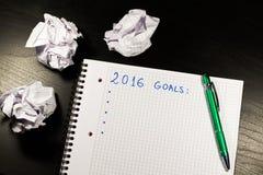 Taccuino con gli scopi dell'anno 2016 Immagine Stock