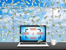 Taccuino con le merci ed il diagramma dei soldi Fotografie Stock