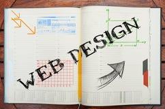 Taccuino con testo dentro web design fotografie stock libere da diritti