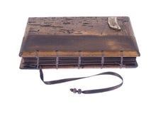 Taccuino d'annata con le coperture di legno su fondo bianco Fotografie Stock Libere da Diritti