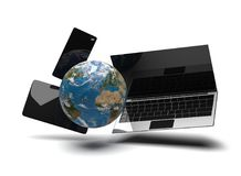 Taccuino 3d-illustration del computer della compressa del telefono del globo del mondo Immagini Stock