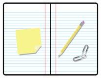 Taccuino della composizione con la matita, di carta ed appiccicoso Fotografie Stock Libere da Diritti