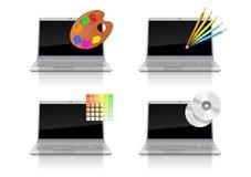 Taccuino e colori Fotografia Stock Libera da Diritti
