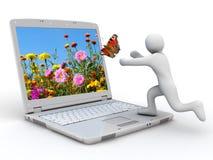 Taccuino e farfalla bianchi Fotografie Stock