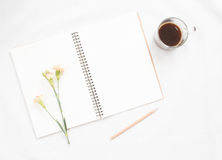 Taccuino e fiore in bianco Fotografie Stock Libere da Diritti