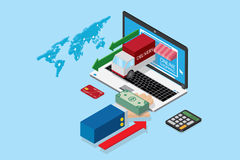Taccuino e mano isometrici di affari con la pila di banconote del dollaro, di acquisto online e di concetto di affari illustrazione di stock