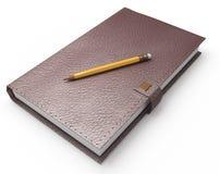 Taccuino e matita su bianco Immagini Stock Libere da Diritti