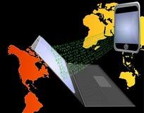 Taccuino e telefono mobile Immagini Stock Libere da Diritti
