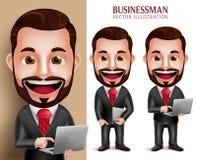 Taccuino felice del computer portatile della tenuta del carattere di vettore dell'uomo di affari illustrazione di stock
