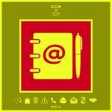 Taccuino, indirizzo, guida telefonica con il simbolo del email ed icona della penna Immagine Stock