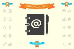 Taccuino, indirizzo, guida telefonica con il simbolo del email ed icona della penna Fotografie Stock Libere da Diritti
