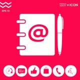 Taccuino, indirizzo, guida telefonica con il simbolo del email ed icona della penna Immagine Stock Libera da Diritti