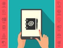 Taccuino, indirizzo, guida telefonica con il simbolo del email ed icona della penna Fotografia Stock Libera da Diritti