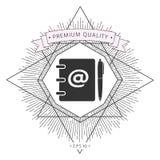 Taccuino, indirizzo, guida telefonica con il simbolo del email ed icona della penna Fotografie Stock