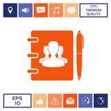 Taccuino, indirizzo, guida telefonica con il simbolo della gente del gruppo ed icona della penna Immagini Stock