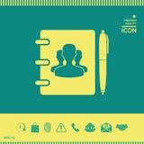 Taccuino, indirizzo, guida telefonica con il simbolo della gente del gruppo ed icona della penna Immagini Stock Libere da Diritti