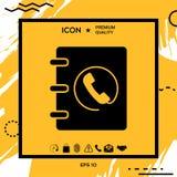 Taccuino, indirizzo, icona della guida telefonica con il simbolo del microtelefono Fotografia Stock