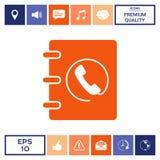 Taccuino, indirizzo, icona della guida telefonica con il simbolo del microtelefono Fotografia Stock Libera da Diritti