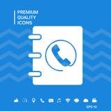 Taccuino, indirizzo, icona della guida telefonica con il simbolo del microtelefono Immagini Stock Libere da Diritti
