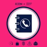Taccuino, indirizzo, icona della guida telefonica con il simbolo del microtelefono Immagine Stock