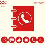 Taccuino, indirizzo, icona della guida telefonica con il simbolo del microtelefono Immagine Stock Libera da Diritti