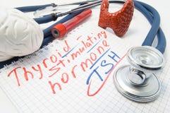 Taccuino iscritto con le bugie di stimolazione dell'ormone della tiroide circondate dallo stetoscopio, tiroide del cervello, tubi fotografia stock