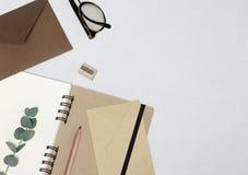 Taccuino, matita, affilatrice, occhiali, buste, ramo dell'eucalyptus sui precedenti bianchi immagine stock