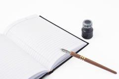 Taccuino, a penna ed inchiostro Fotografie Stock