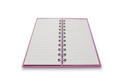 Taccuino rosa isolato su fondo bianco, con il percorso di ritaglio Fotografie Stock Libere da Diritti