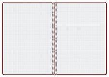 Taccuino rosso a quadretti aperto Illustrazione di Stock