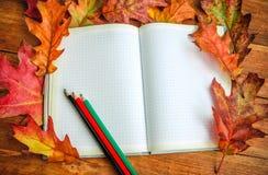 Taccuino vuoto con le foglie variopinte e le matite della quercia Fotografia Stock Libera da Diritti