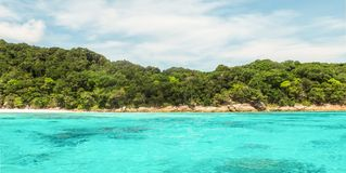 Tachai Island in Andaman with Crystal Clear Sea and Sky Stock Photo