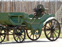 Tachanka. The name of the horse spring wagon with machine guns aimed ago Royalty Free Stock Image