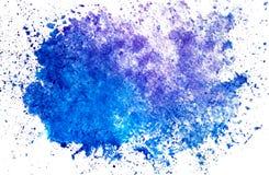 Tache bleue horizontale de tache d'aquarelle sur un fond blanc d'isolement avec l'espace de copie illustration libre de droits