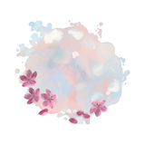Tache d'aquarelle avec Cherry Blossom Flowers Photographie stock libre de droits